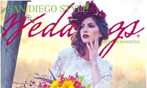 What A Betty Couture Bridal wreath featured on COVER of San Diego Style Wedding Magazine!