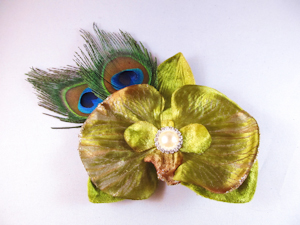 LIME GREEN ORCHID WITH PEACOCK FEATHERS
