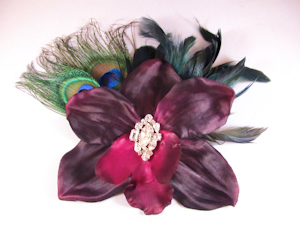 Dark Purple Orchid with Peacock feathers