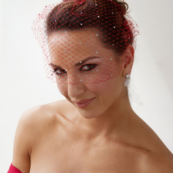 Red Bridal Birdcage Veil With Swarovski Crystals